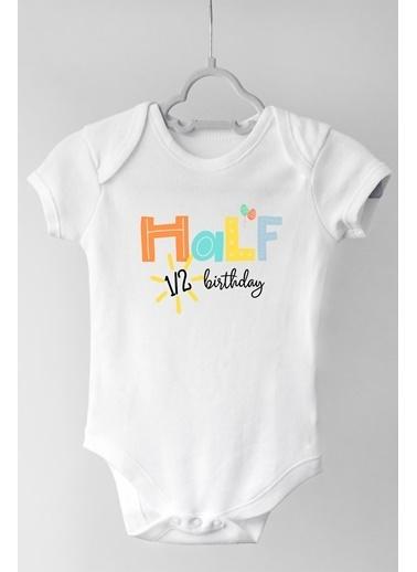 Happy Onesie Co Half Boho Kısa Kol Çıtçıtlı Bebek Body  Beyaz